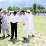 DC Swat Shahid Mehmood is inspecting the developmental work in Grassy Ground Mingora Swat.