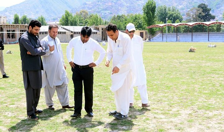 DC Swat Shahid Mehmood is inspecting the developmental work in Grassy Ground Mingora Swat.