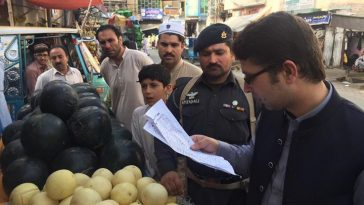 On the direction of Deputy Commissioner Swat Shahid Mehmood,AC II Amer Ali Shah visited bazar.Violat