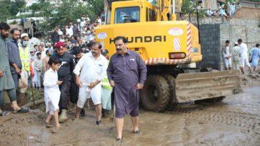Relief activities are in fill swing in Shahgram & Tirat tehsil Bahrain. Tirat bridge will be mad