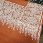 Orange pashmina shawl with wide white embroidery four sided...PROMO Price : 5