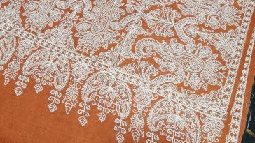 Orange pashmina shawl with wide white embroidery four sided...   PROMO Price : 5