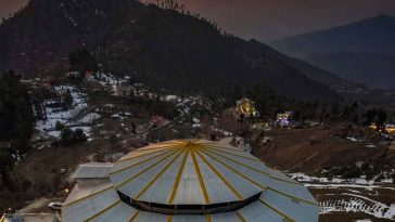 Ariel view of Malam Jabbba after sunset Swat Valley , Pakistan Dec 2020 . .