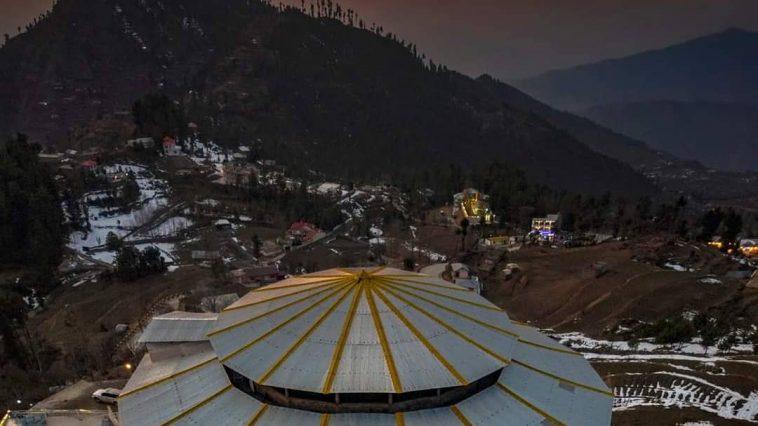 Ariel view of Malam Jabbba after sunset Swat Valley , Pakistan Dec 2020 . .