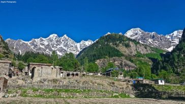 Beautiful view of Matiltan village and the enchanting Baatin peaks in the backgr