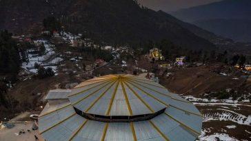 مالم جبہ، سوات ویلی۔۔Aerial view of Malam Jabba after sunset(also Maalam J