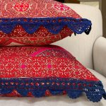I have acquired two Swat marriage pillows with blue crochet trim. I think they a