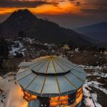 مالم جبہ، سوات ویلی۔۔Aerial view of Malam Jabba after sunset(also Maalam J