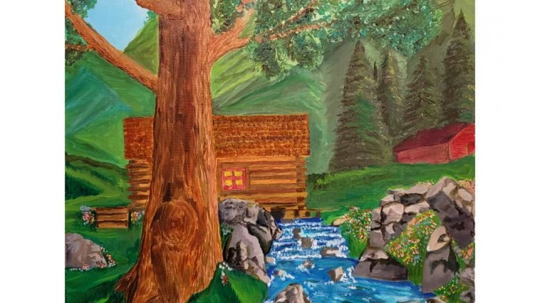 """CABIN BY THE MOUNTAINS""Medium:Oil Paint Canvas size:18"" x 24"" Artist: Conte"