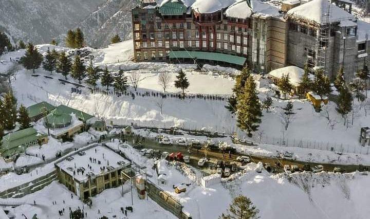 مالم جبہ، سوات ویلی۔۔ Aerial view of snow-covered Malam Jabba Ski Resort(als