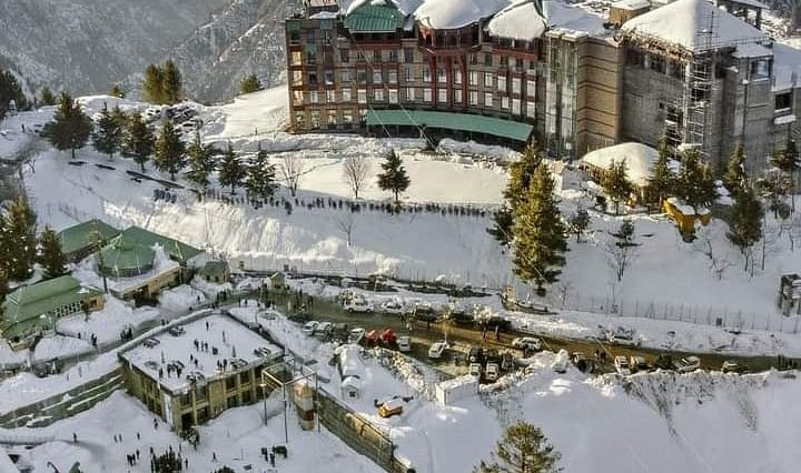 مالم جبہ، سوات ویلی۔۔ Aerial view of snow-covered Malam Jabba Ski Resort(als