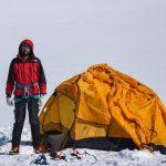 At camp 3 on the Thallo Zom Glacier. En el campamento 3 del glaciar Thallo Zom.