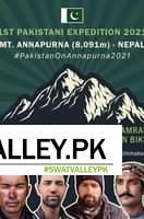 May be an image of 4 people and text that says '1ST PAKISTANI EXPEDITION 2021 MT. ANNAPURNA (8,091m) NEPAL #PakistanOnAnnapurna2021 SIRBAZ KHAN ABDUL JOSHI Climber Climber SAAD KAMRAN MUNAWAR ON BIKE Expedition Manager Filmmaker'