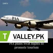May be an image of airplane and text that says 'DAWN PIA PIA plans Swat flights to promote tourism'