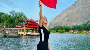 Flags with star and Moon Stay waving together… Shangrilla Resort Skardu - GB .
