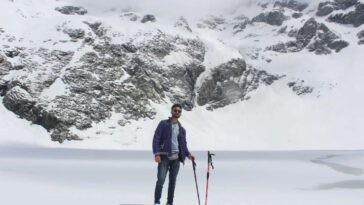 Finally reached to our destination Just behind me, frozen (Bashigram Lake) with